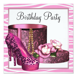 Leopard High Heel Shoes Pink Zebra Birthday Party Personalized Announcements