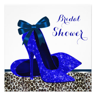 Leopard High Heels Royal Blue Bridal Shower Invitations