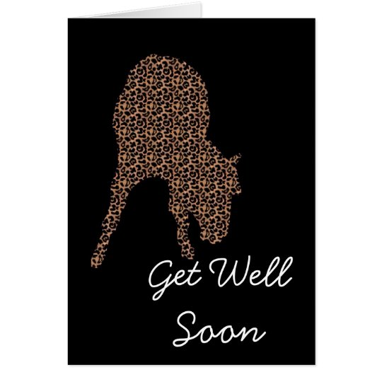 Leopard Horse On Black Get Well Soon Card