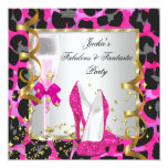 """Leopard Hot Pink Black Silver Birthday Party 5.25"""" Square Invitation Card"""