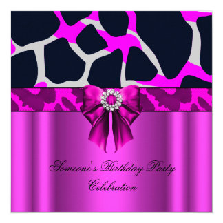 Leopard Hot Pink Bow Diamonds Animal Print Card