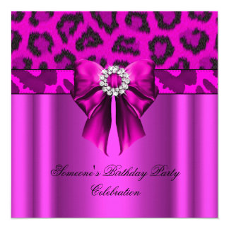 Leopard Hot Pink Bow Diamonds Images Card