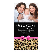 Leopard Hot Pink Bow Its a Girl Safari Baby Shower Card