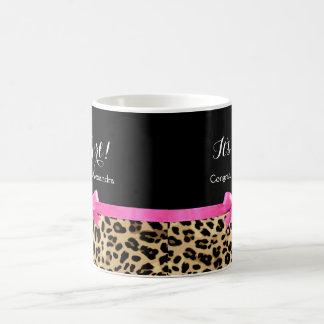 Leopard Hot Pink Bow Its a Girl Safari Baby Shower Coffee Mug