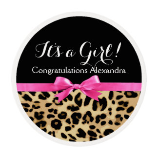 Leopard Hot Pink Bow Its a Girl Safari Baby Shower Edible Frosting Rounds