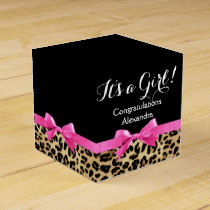 Leopard Hot Pink Bow Its a Girl Safari Baby Shower Favor Box