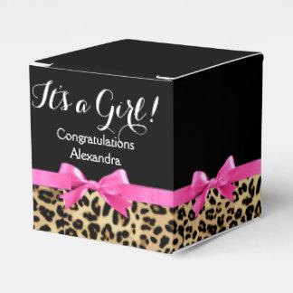 Leopard Hot Pink Bow Its a Girl Safari Baby Shower Favor Box