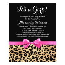 Leopard Hot Pink Bow Its a Girl Safari Baby Shower Flyer
