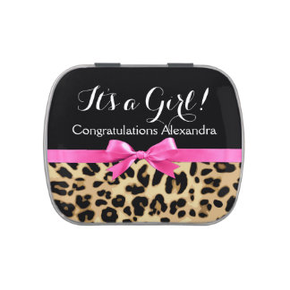 Leopard Hot Pink Bow Its a Girl Safari Baby Shower Jelly Belly Candy Tin