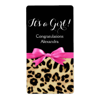 Leopard Hot Pink Bow Its a Girl Safari Baby Shower Label