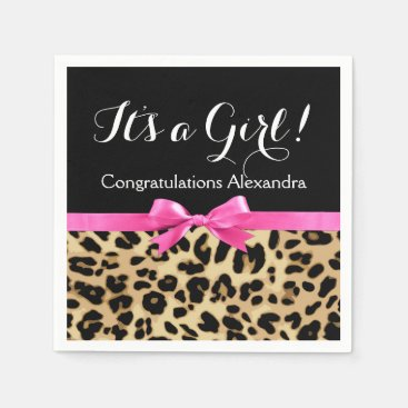 Toddler & Baby themed Leopard Hot Pink Bow Its a Girl Safari Baby Shower Paper Napkin