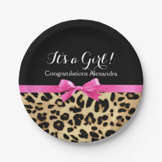 Leopard Hot Pink Bow Its a Girl Safari Baby Shower Paper Plate