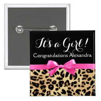 Leopard Hot Pink Bow Its a Girl Safari Baby Shower Pinback Button