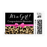 Leopard Hot Pink Bow Its a Girl Safari Baby Shower Postage Stamp