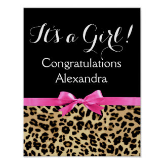 Leopard Hot Pink Bow Its a Girl Safari Baby Shower Poster