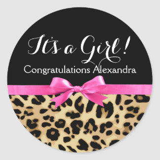 Leopard Hot Pink Bow Its a Girl Safari Baby Shower Classic Round Sticker