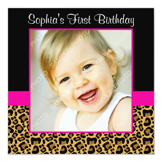 Pink Zebra Print Girls 1st Birthday Invitation: Leopard Hot Pink Girls Photo 1st Birthday Party Invitation