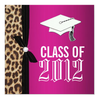 Leopard Hot Pink Graduation Party Invitation