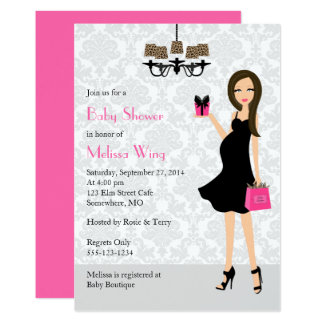 Leopard Hot Pink Pregnant Mom Baby Shower Card