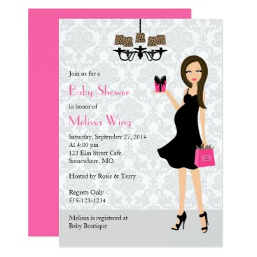 Toddler & Baby themed Leopard Hot Pink Pregnant Mom Baby Shower Card