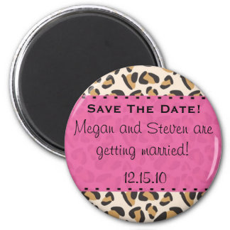 Leopard & Hot Pink Save the Date Magnets