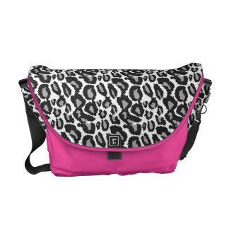 Leopard Hot Pink Zebra Black White Animal print Messenger Bag