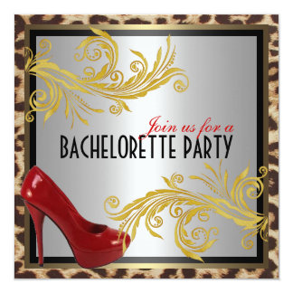 Leopard & Hot Red Heels Bachelorette Party Invite