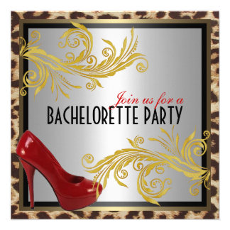 Leopard Hot Red Heels Bachelorette Party Invite