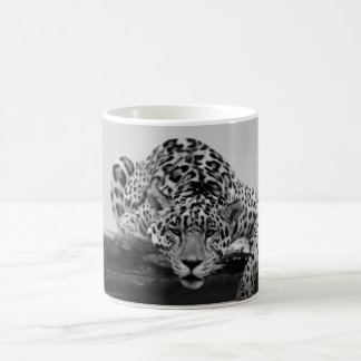 Leopard in black and white coffee mug