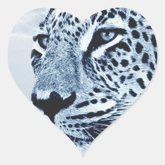 Leopard in Black and White Heart Sticker