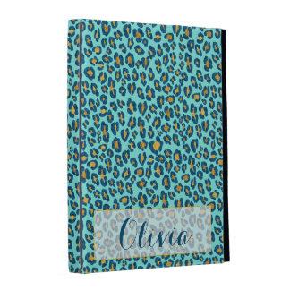 Leopard in Blue Glitter and Gold iPad Folio Cases