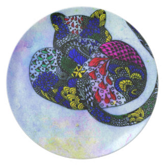 Leopard in Rainbow colors Dinner Plate
