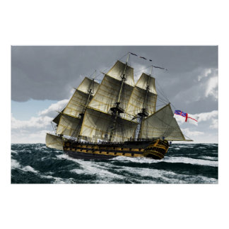 Leopard in stormy weather poster