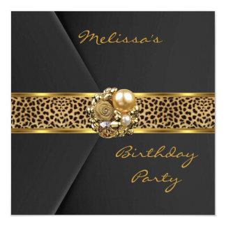"Leopard Invitation Elegant Black Velvet gold jewel 5.25"" Square Invitation Card"