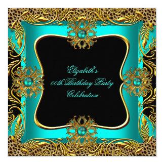 Leopard Jade Teal Gold Jewel Black Birthday Party Card