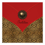 Leopard Jewel Red All Occasion Party 5.25x5.25 Square Paper Invitation Card