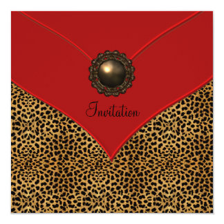 Leopard Jewel Red All Occasion Party Personalized Invitation