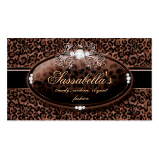 Leopard Jewelry Business Card Crown Brown