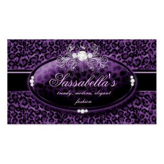 Leopard Jewelry Business Card Crown Purple