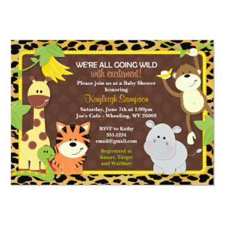 "Leopard Jungle Friends Baby Shower Invitations 5"" X 7"" Invitation Card"