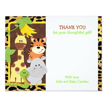 Toddler & Baby themed Leopard Jungle Friends Baby Shower Thank You Cards