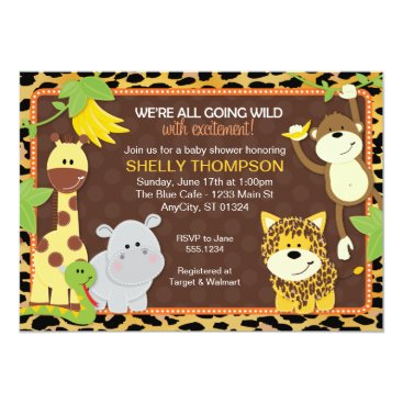Toddler & Baby themed Leopard Jungle Friends Orange Baby Shower Invitati Card
