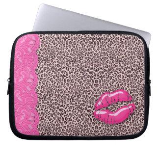 Leopard Lace Lips laptop sleeve Pink