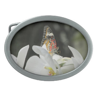 Leopard Lacewing Butterfly on White Orchid Oval Belt Buckle