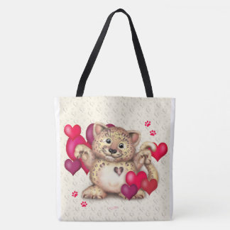 LEOPARD LOVE All-Over-Print Tote Bag Large