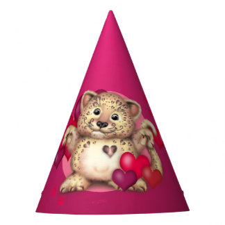 LEOPARD LOVE CARTOON Party Hat