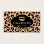 Leopard Makeup Artist Modern Gold Lips Salon Business Card