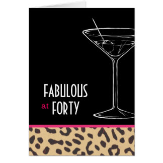 leopard martini birthday card