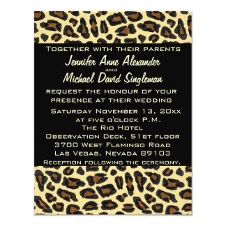 Leopard Modern Wedding and Reception 4.25x5.5 Paper Invitation Card