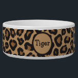 "Leopard Monogram Bowl<br><div class=""desc"">A leopard patterned cat bowl to customize with your pet&#39;s name.</div>"
